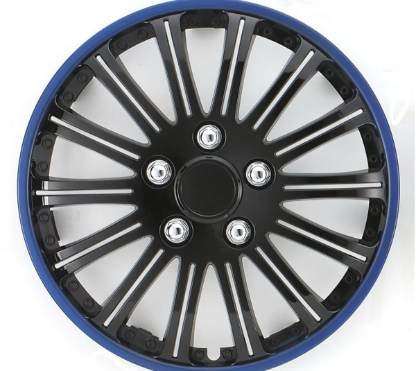 Car Wheel Trims | Style: Lightning | Gloss Black with Blue Rim