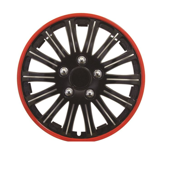 Car Wheel Trims | Style: Lightning | Gloss Black with Red Rim