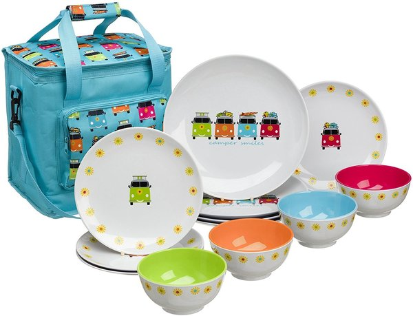 Camper Smiles 12 Piece Dining Set with Cool Bag